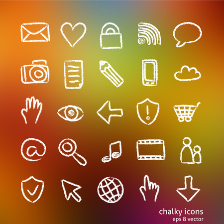 chalky: Hand-drawn social and media  icons - chalky style
