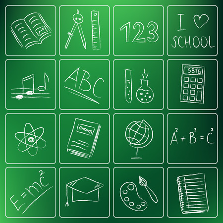 Illustration of back to school chalky doodle icons Vector
