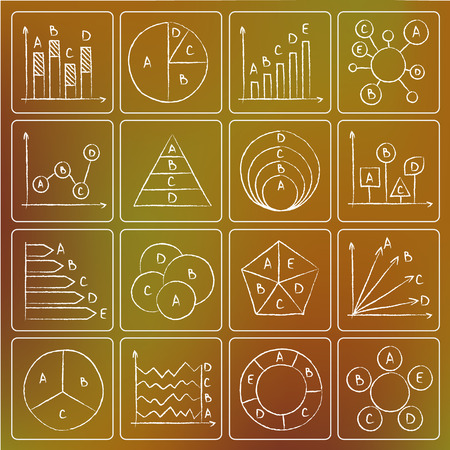 Illustration of types of charts chalky doodle icons Vector