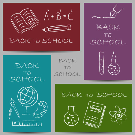 Illustration of back to school chalky doodles on banners Vector