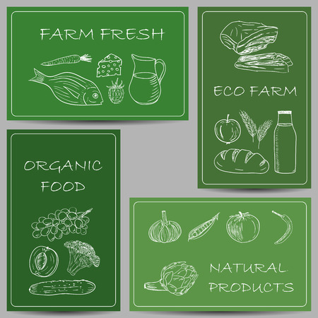 Illustration of farm products chalky doodles on green banners Vector