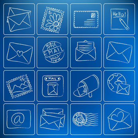 mailing: Illustration of postal and mailing icons - chalky style