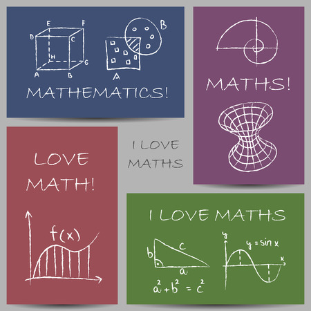 Illustration of mathematics chalky doodles on banners Vector