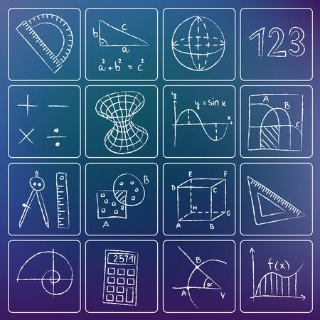 Illustration of mathematics icons - white chalky doodles Stock Illustratie
