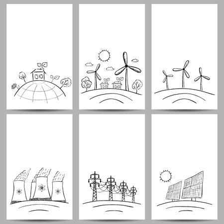 nuclear reactor: Power station energy doodles on three banners Illustration