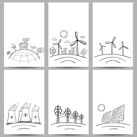 Power station energy doodles on three banners Ilustração