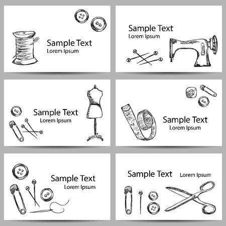 coser: Ilustración de accesorios de costura de la vendimia en las banderas, el estilo de dibujo Vectores