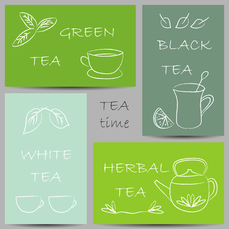 Illustration of tea chalky doodles on banners Vector