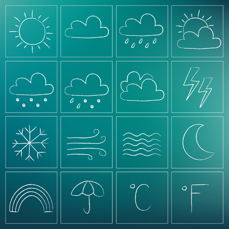 chalky: Illustration of weather icons - white chalky doodles Illustration