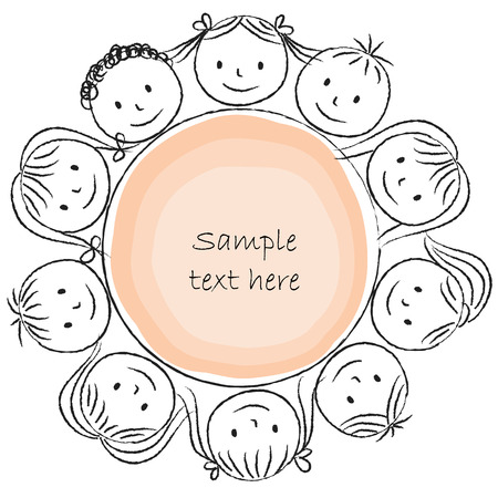 Illustration of kids around circle - chalk drawing Vector