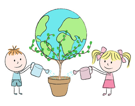 watering plants: Kids growing a planet in a pot  - chalk drawing Illustration
