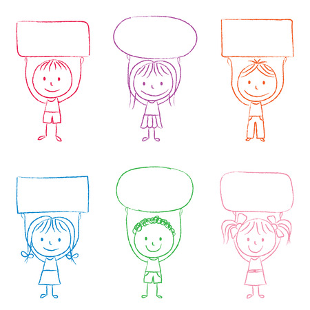 Illustration of kids with banners - colored chalk drawing Vector