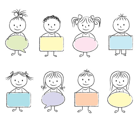 Illustration of kids with colored banners - chalk drawing Vector