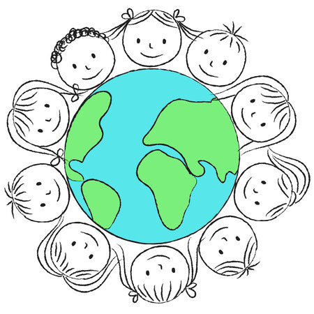 Illustration of kids around planet - chalk drawing Vector