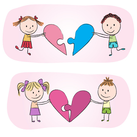 chalky: Illustration of kids with heart puzzle - chalky drawing
