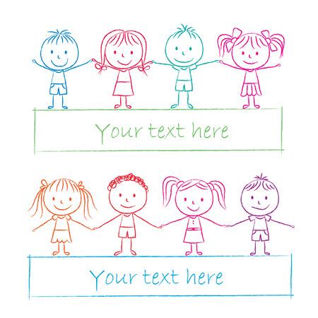 kids holding hands: Illustration of kids holding hands - colored chalk drawing