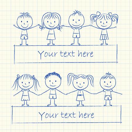 kids holding hands: Illustration of kids holding hands - ink chalk drawing