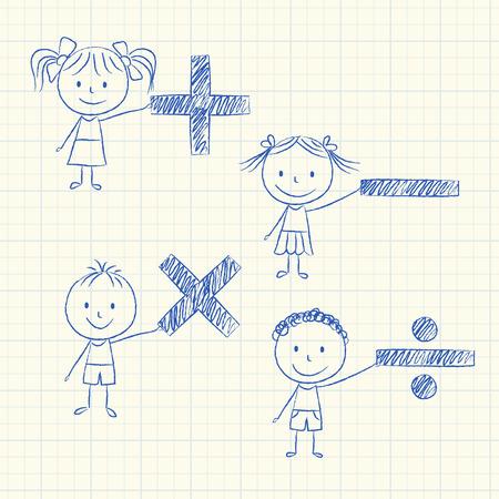 signos matematicos: Ilustraci�n de los ni�os que sostienen los signos matem�ticos - Dibujo de tiza