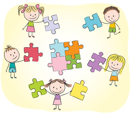 Illustration of kids playing with puzzle - chalk drawing Vector