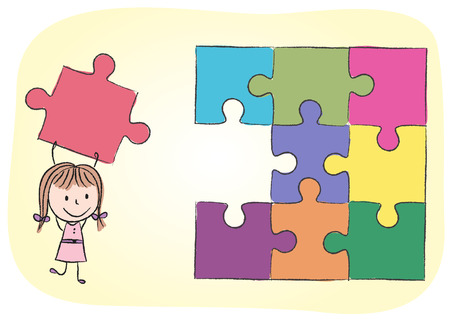 Illustration of girl solving puzzle - chalk drawing Vector