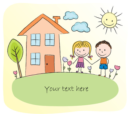 Kids playing in front of the house - chalk drawing Vector