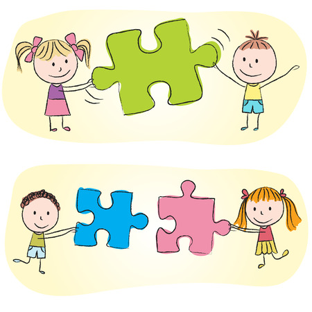 Illustration of kids playing with puzzle - chalk drawing Illustration