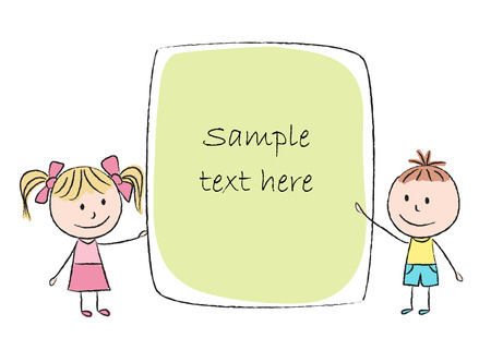 Illustration of kids with colored banner - chalk drawing Vector