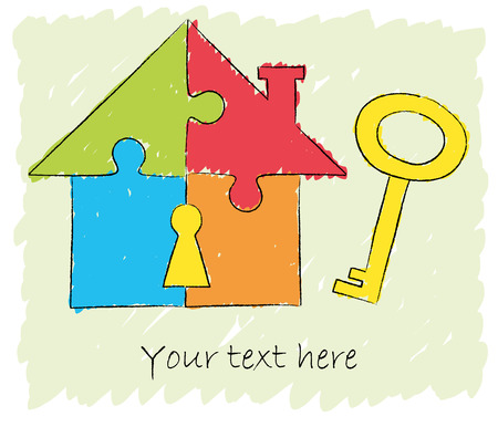 Illustration of puzzle house with key - chalk drawing Vector