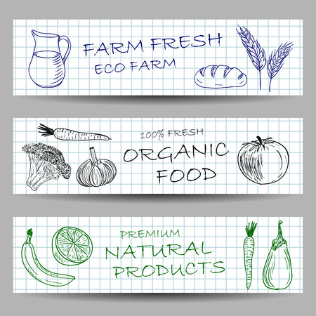 fresh milk: Farm banners - illustrations of fresh food and eco products