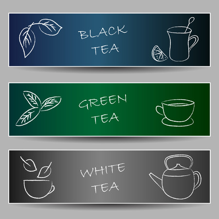 chalky: Illustration of tea chalky doodles on banners