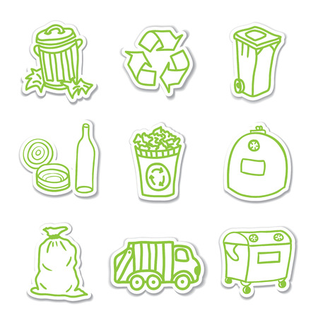 plastic recycling: Green recycling icons - illustrations of garbage stickers