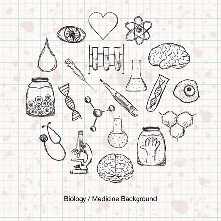Illustration of scientific stuff in circle. Hand drawn style. Vector