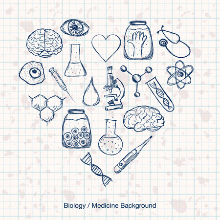 Illustration of scientific stuff in heart shape. Hand drawn style. Vector