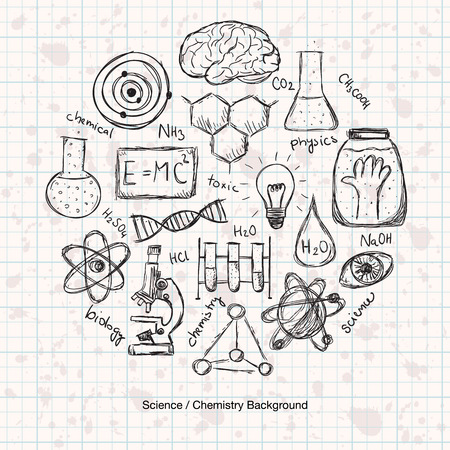Illustration of scientific stuff in circle. Hand drawn style.