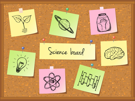 Illustration of scientific stuff on cork board. Hand drawn style. Vector