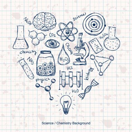 Illustratie van wetenschappelijke spullen in hartvorm. Hand getrokken stijl. Stock Illustratie