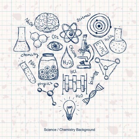 Illustration of scientific stuff in heart shape. Hand drawn style. Illustration