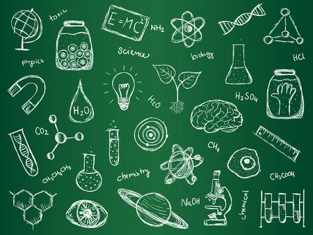 Illustratie van wetenschappelijke spullen op groene school bord. Hand getekend stijl. Stock Illustratie