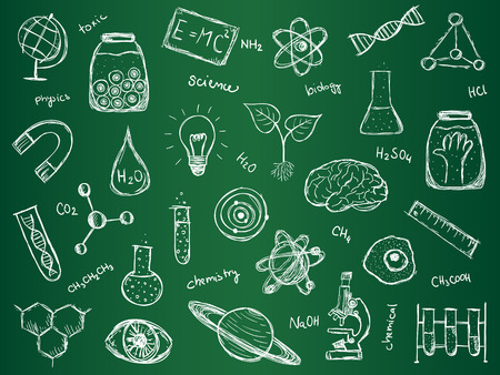Illustration of scientific stuff on green school board. Hand drawn style. Vector