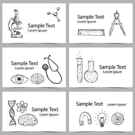 Illustration of scientific stuff on cards. Hand drawn style. Vector