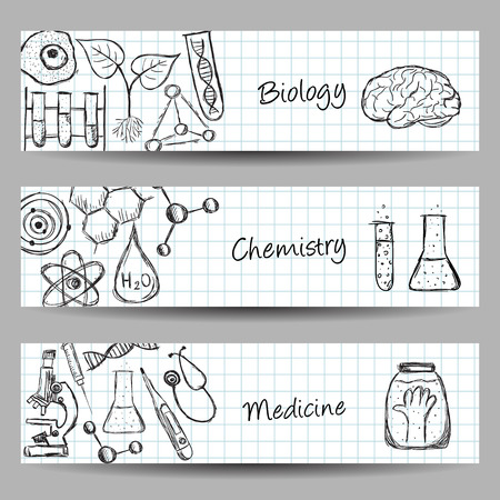 chemistry formula: Collection of scientific illustrations on banners. Hand drawn style. Illustration