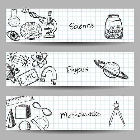 Collection of scientific illustrations on banners. Hand drawn style. Иллюстрация