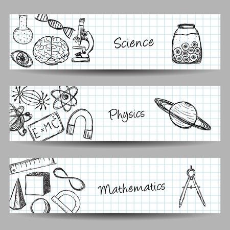 Het verzamelen van wetenschappelijke illustraties op banners. Hand getekende stijl.