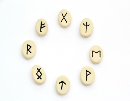 futhark: nordic runes - circle shape on white background