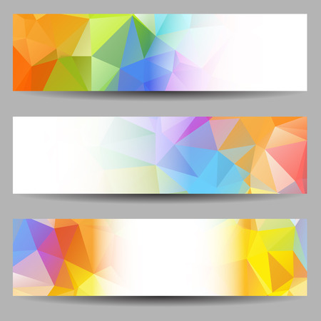 Set of banners with abstract multicolored geometrical triangles Vector