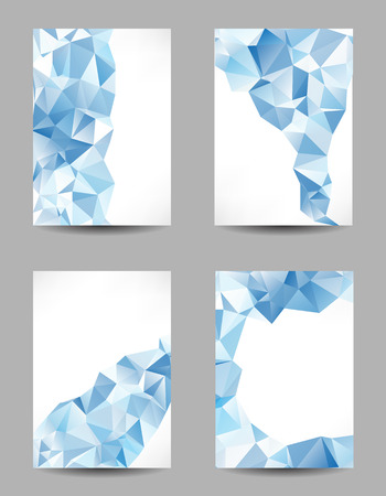 Set of templates with abstract geometrical blue triangles Vector
