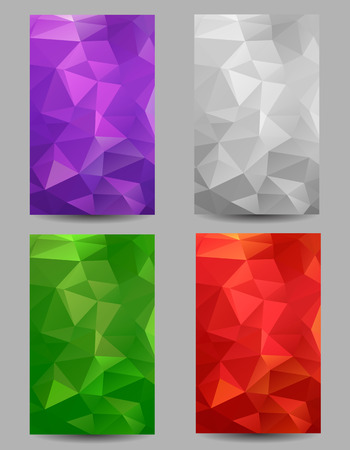 Set of backgrounds with abstract geometrical triangles  イラスト・ベクター素材