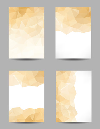 Set of templates with abstract geometrical golden triangles Illustration