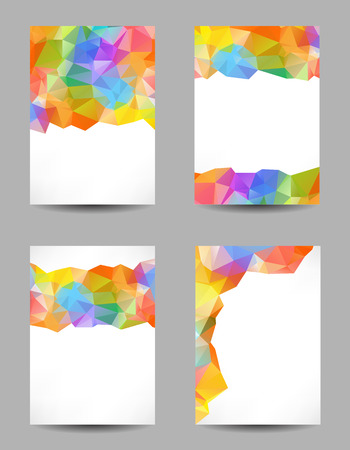 Set of templates with abstract geometrical multicolored triangles Vector