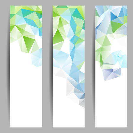 Set of banners with abstract geometrical triangles